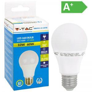 LED-POLTTIMO 10W E27 2700K 806LM A60 V-TAC