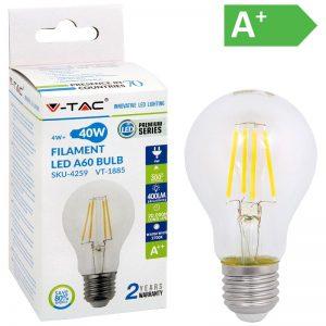 LED-POLTTIMO 4W E27 2700K 400LM A60 FILA V-TAC