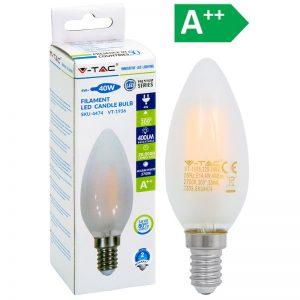 LED-POLTTIMO 4W E14 2700K 400LM CANDLE F V-TAC
