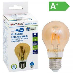 LED-POLTTIMO 4W E27 2200K 350LM A60 AMBE V-TAC