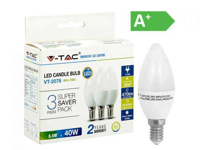 LED-POLTTIMO 5,5W E14 2700K 470LM CANDLE 3-PACK